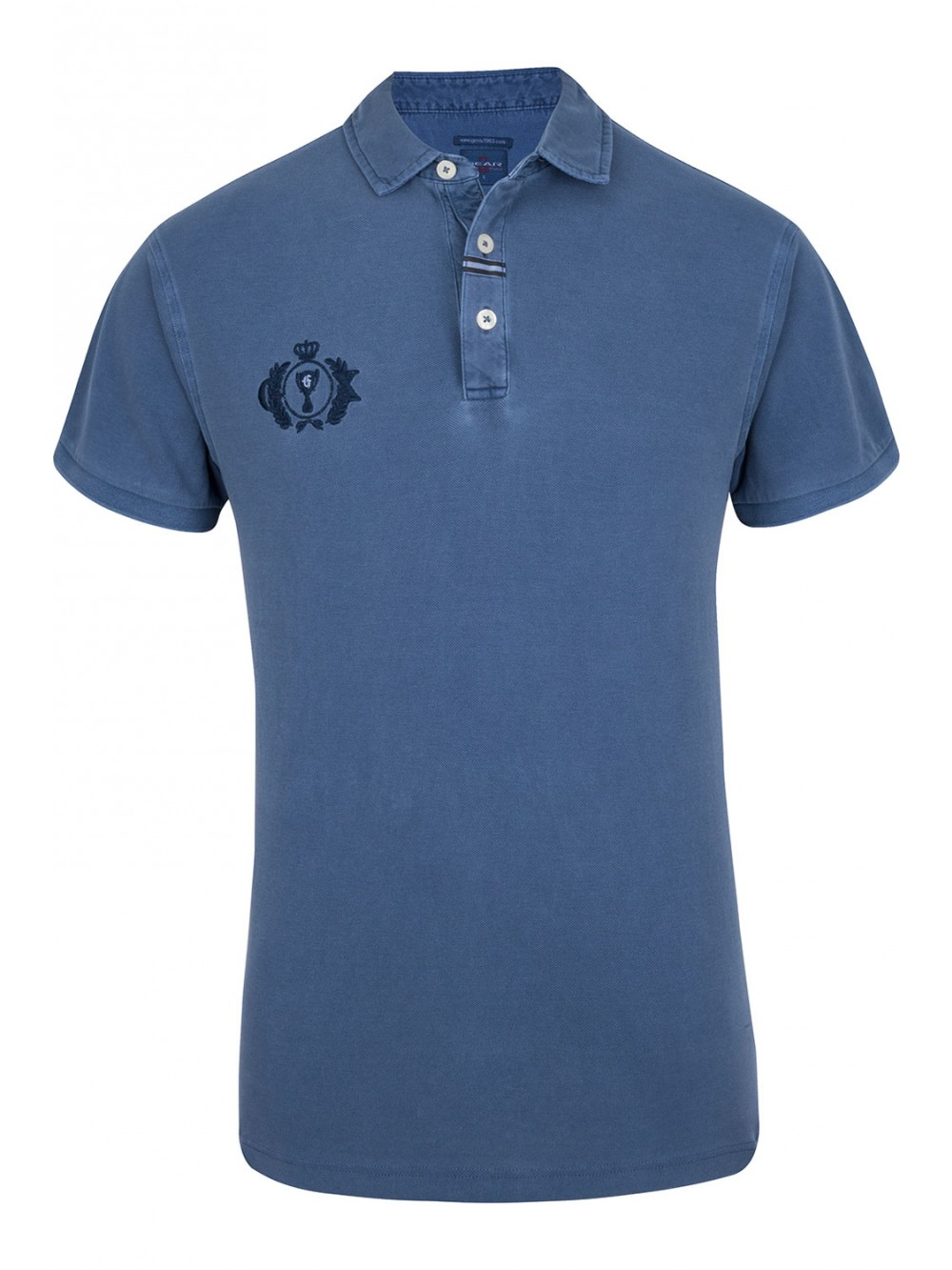 Mens VIPER Pigment Dyed Pique Polo - blue