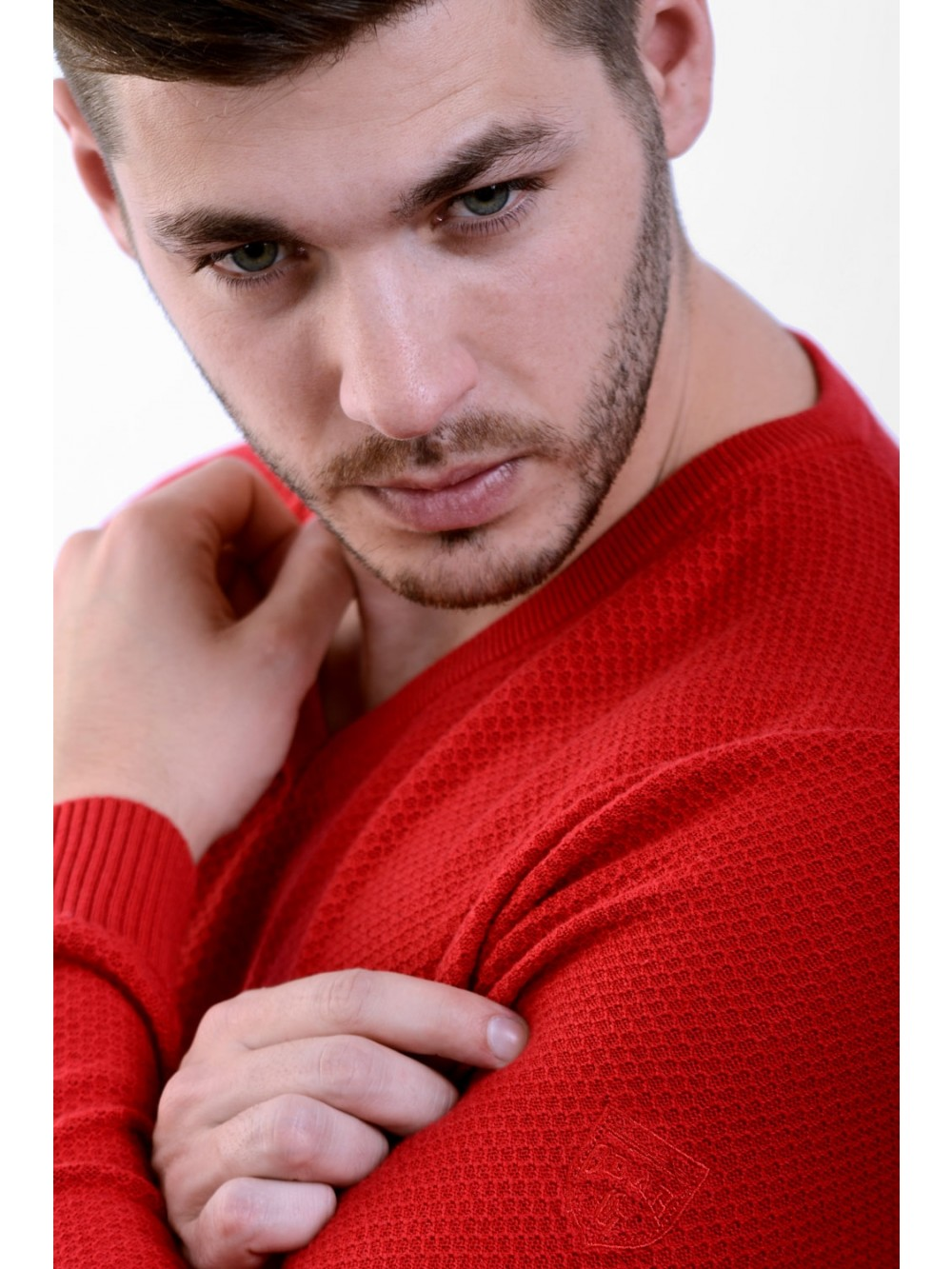 Mens Sweater V neck OCTAVIUS - red