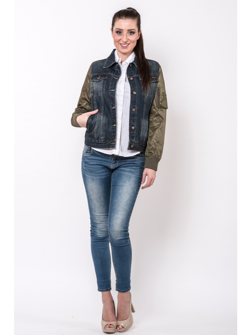 Womens Denim Jacket Bunda BAPS JAC281 - Olive