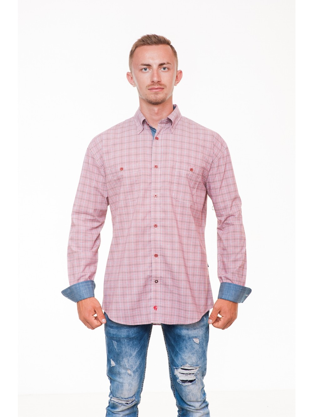 Mens Shirt Regular fit KADEN - red